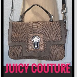 Auth Juicy Couture brown leather crossbody purse